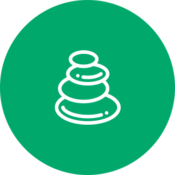 mindfulness icon of stacked rocks indicating inner peace